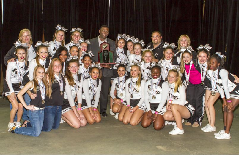 The+2012-13+Varsity+Cheerleading+squad+with+their+coaches+and+Robinson+High+School+Principal+Johnny+Bush+with+their+State+Runner-Up+Trophy+in+Kissimmee%2C+Fla.