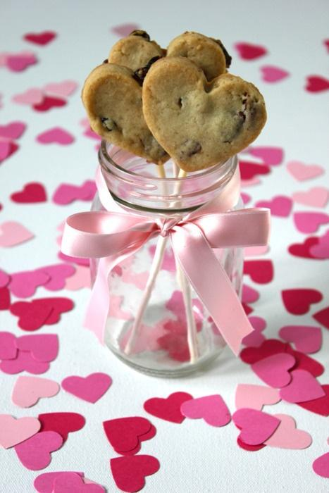 chocolate chip heart cookie lollipop
