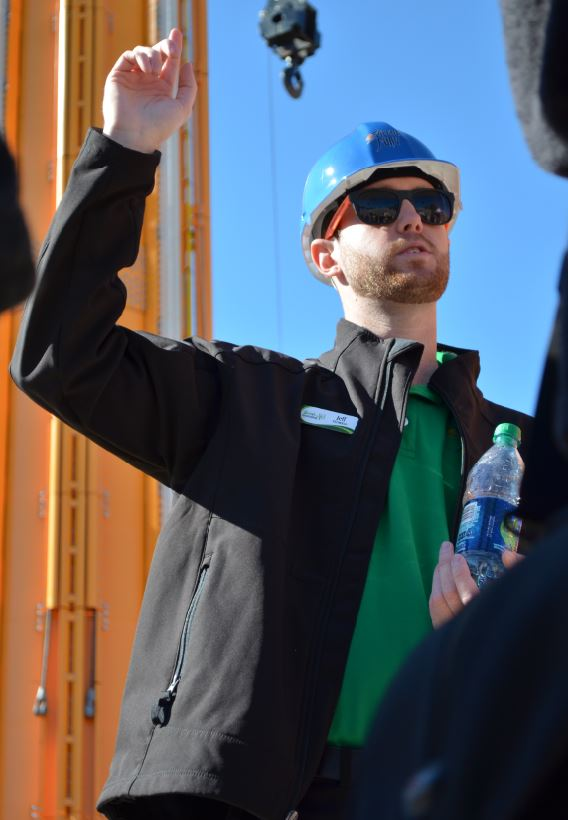 Jeff Hornick, Director of design and engineering for Busch Garden's Tampa, introduces Bay Area high school students to the construction site of Falcon's Fury.
