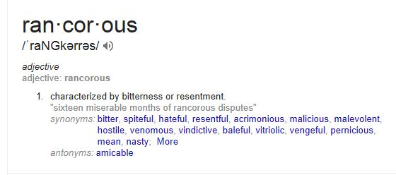 Wednesday Word Day-Rancorous 4.23.14