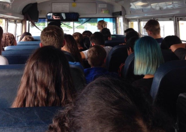 Students aboard the Westchase bus are forced to sit in the aisles.