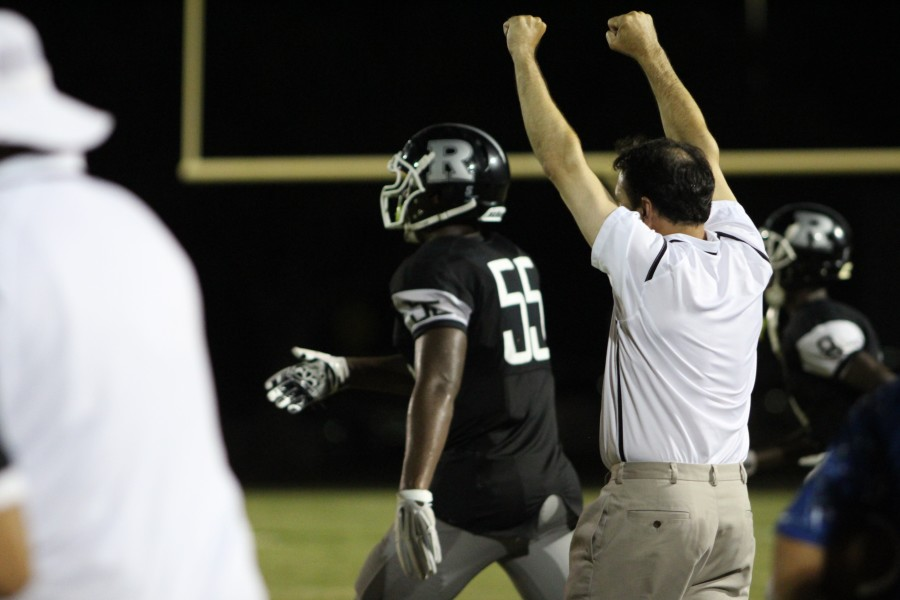 Defensive+coach+Vaughn+Volpi+celebrates+as+the+Knights+come+up+with+a+defensive+stop.