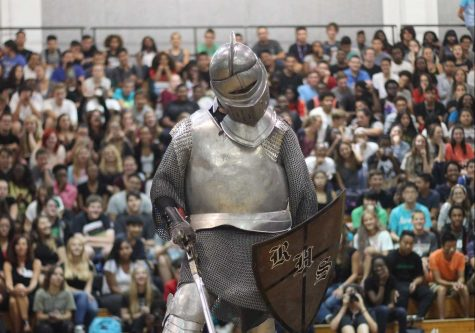The old Knights mascot slays the Plant Panther at the 2015 Plant pep rally. In addition to a new person, the 2016 mascot will also have a new costume.