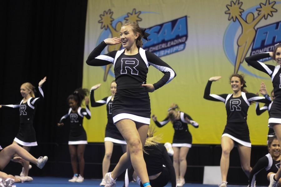 Captain Kelly Dorsey performs at the 2016 FHSAA Cheerleading State Semifinals.