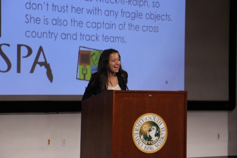 Isabel Hanewicz speaks at the 2015 FSPA District 4 Convention, where she was named the 2016 FSPA District 4 Student Representative.