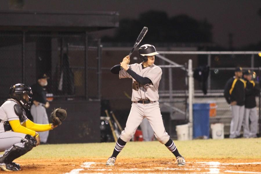 Matthew Steckel ('16) waits for a pitch during the first inning of Robinson's game against Blake in February.