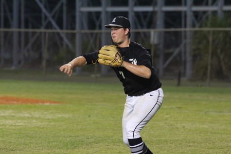 Pitcher Michael Tini ('16) throws the ball to third baseman Joey Scionti ('17) during the top of the fourth inning against Sickles.