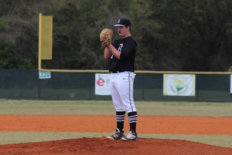 Michael Tini ('16) pitched six and two-thirds innings for the Knights.