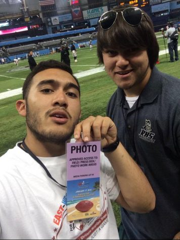 2014-2015 Excalibur editor-in-chief Matthew Hall poses with sports editor Bailey Adams at the 2015 Shrine Game, which the two covered for RHStoday,com.