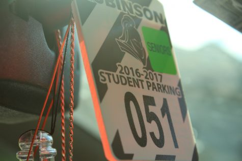 Robinson hang tags cost $20 and are required of all students who park their cars at school. Seniors receive a green