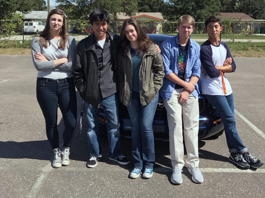 Maya Barrett ('17), Jacob Freedman ('17), Isabel Giovannetti ('17), Scott Rothschild ('17) and Lexx Pino ('17) pose as the characters from the TV show