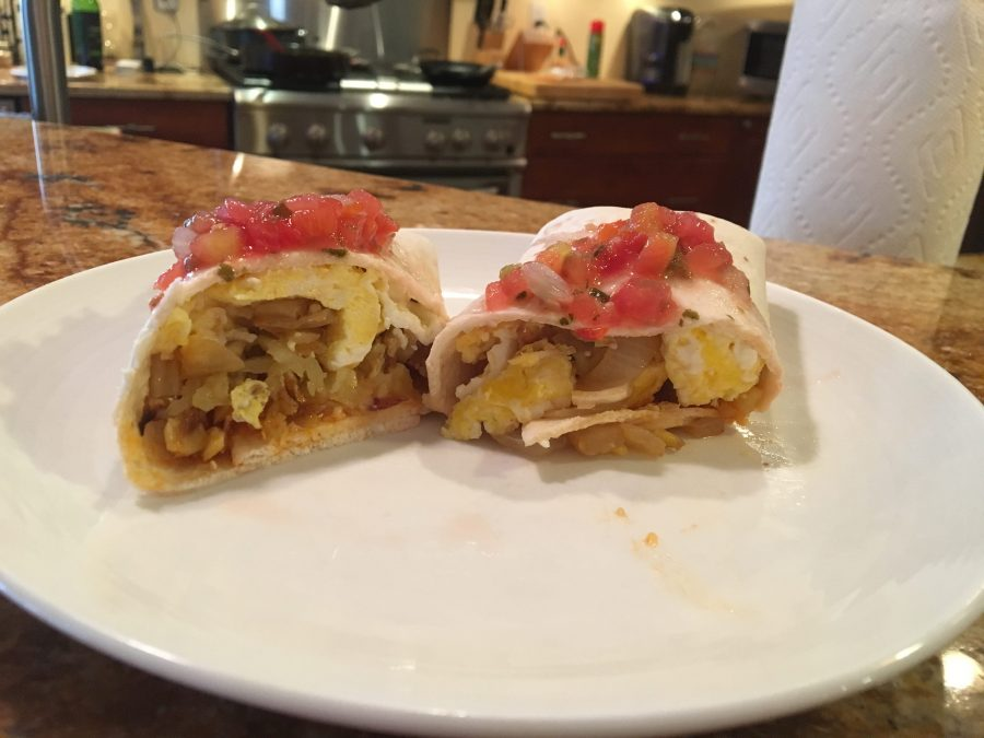 Breakfast burritos can be reheated for a quick before school breakfast.