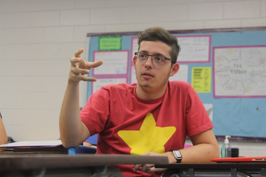 Justin Marquez ('17) makes a point about Obamacare.