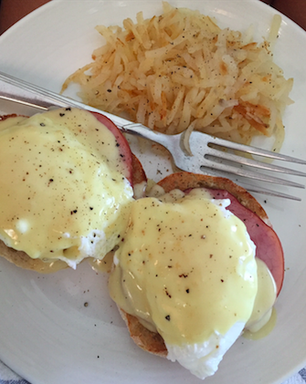 Eggs Benedict with Hollandaise is a savory breakfast.