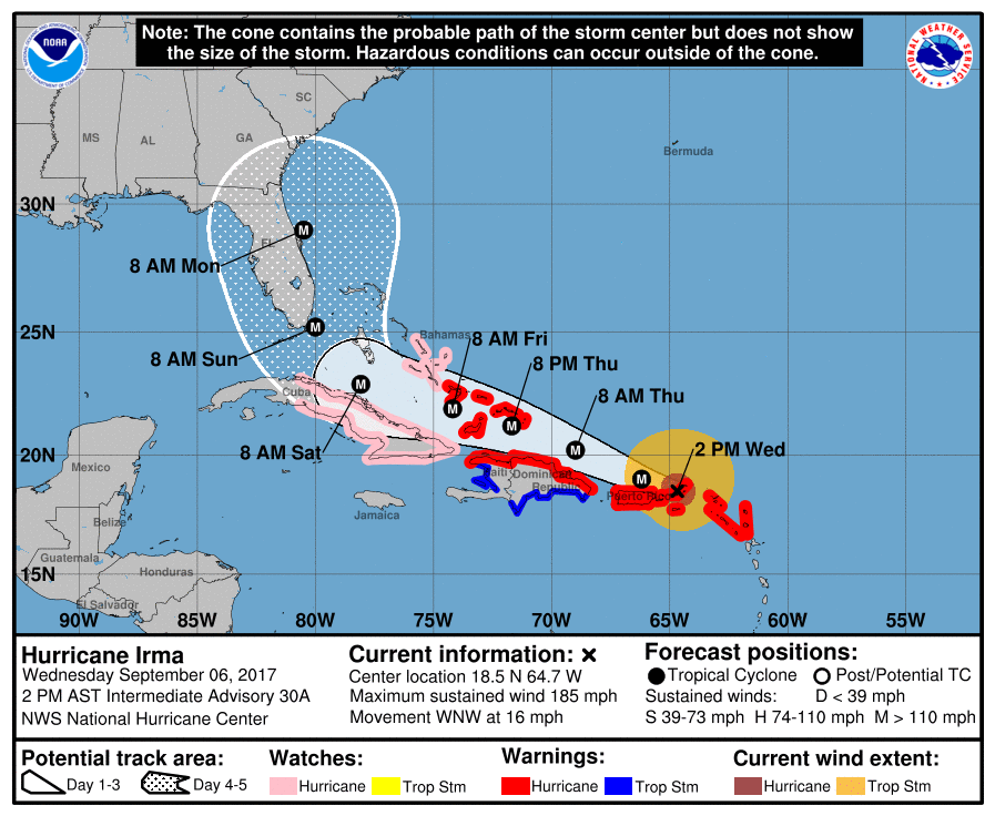 NOAA update from 3 p.m. on September 6. Hillsborough County Public Schools cancelled school Thursday and Friday to prepare for the Impact of Hurricane Irma.