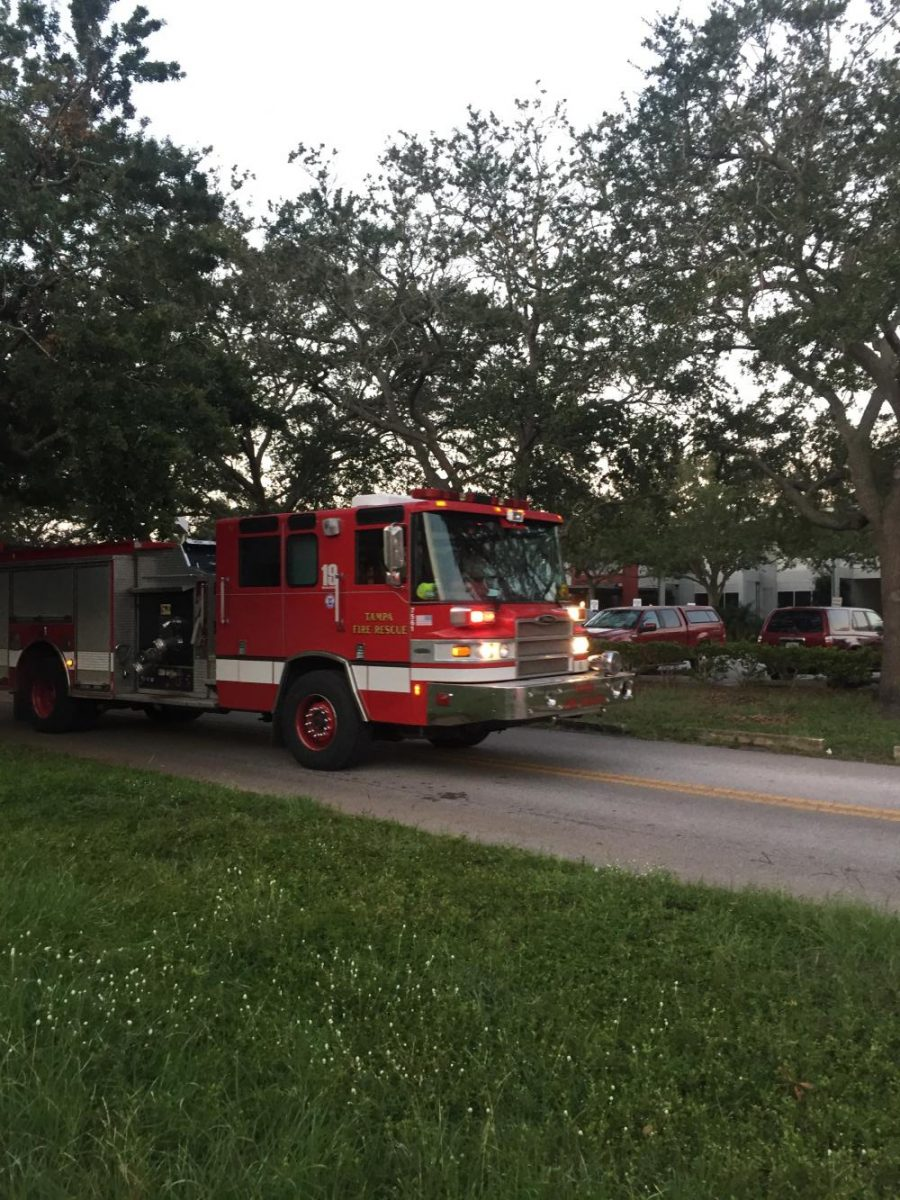 Fire trucks approach Robinson as AC malfunctioning causes scare on Monday.