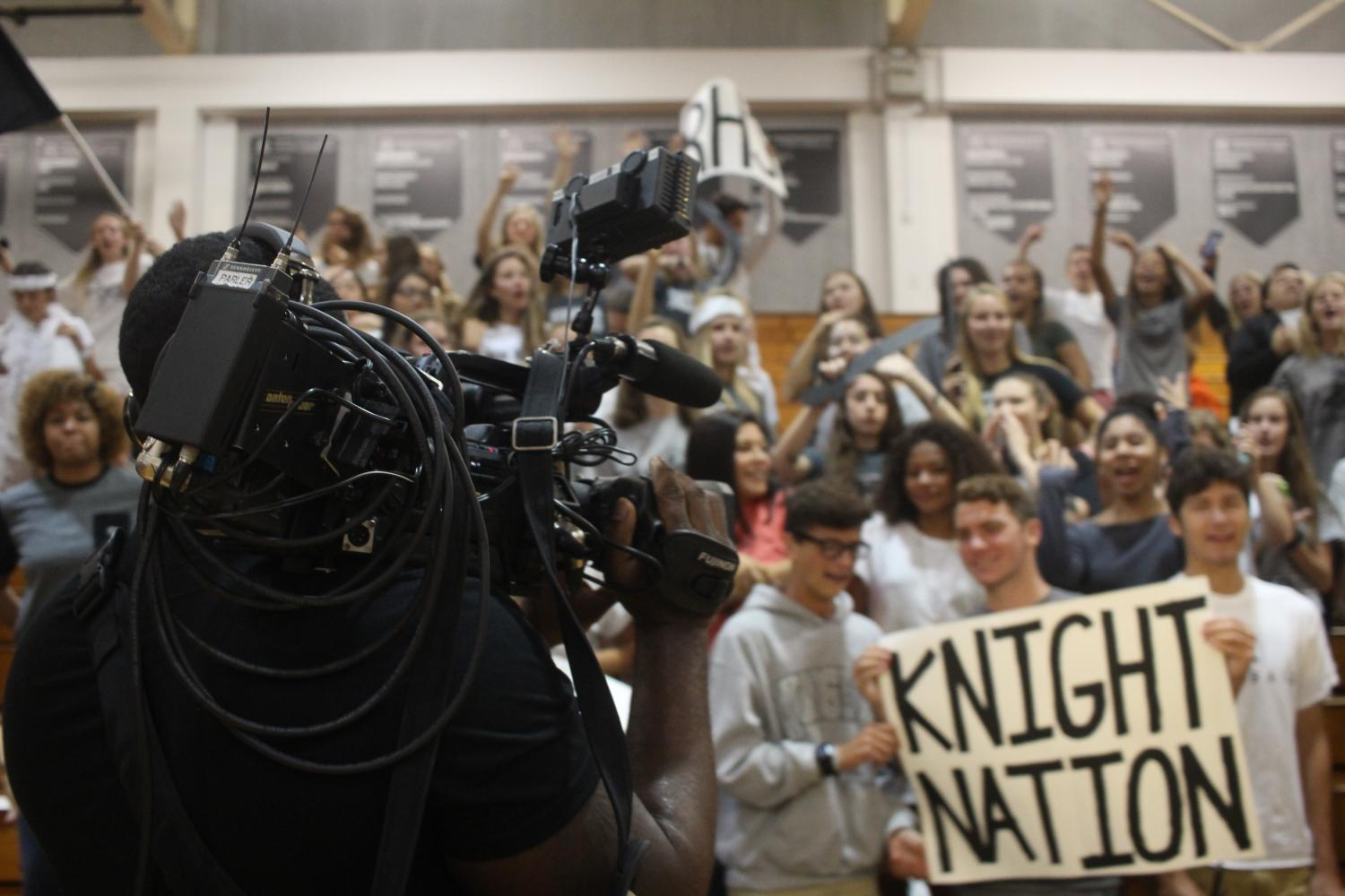 Students cheer and show their spirit while being filmed at last year's morning pep rally.