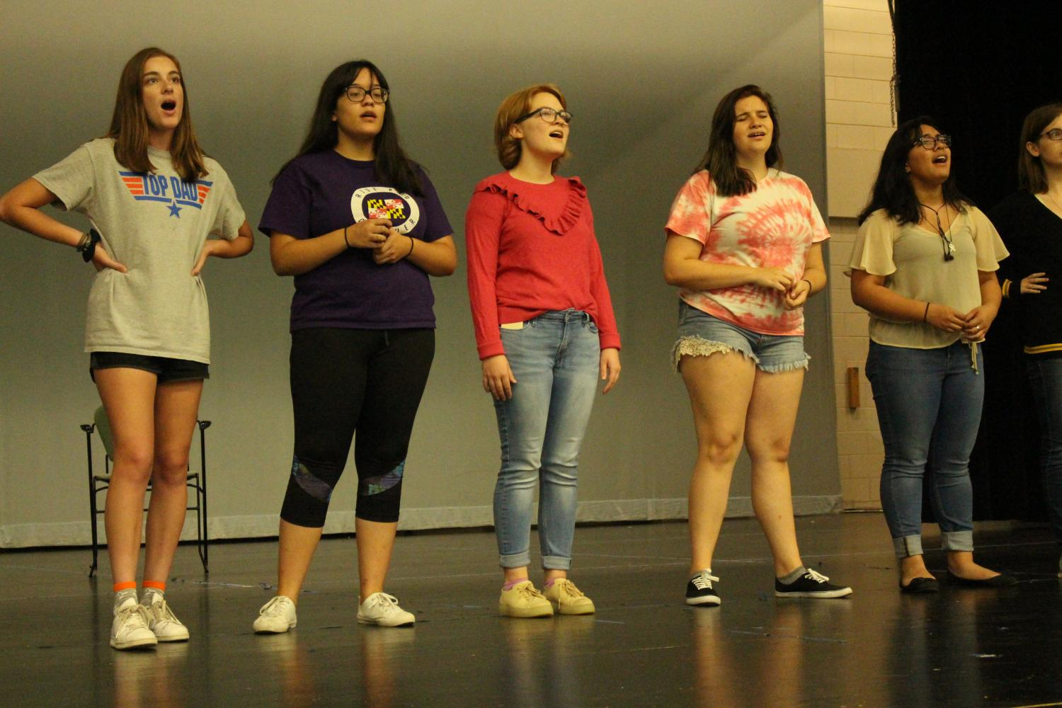 Theater Troupe #2660 practicing for their Broadway Knights show on October 19.
