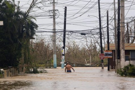 Man wading in flooded street in Puerto Rico