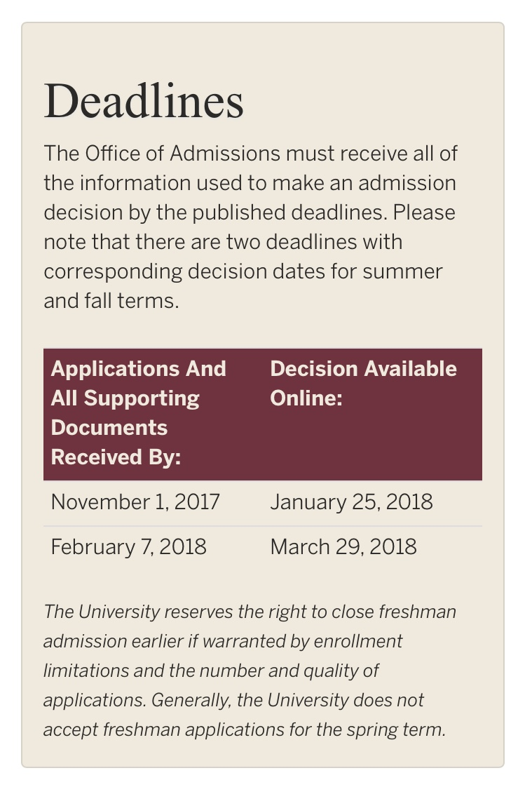 Florida State University fall and spring deadlines.