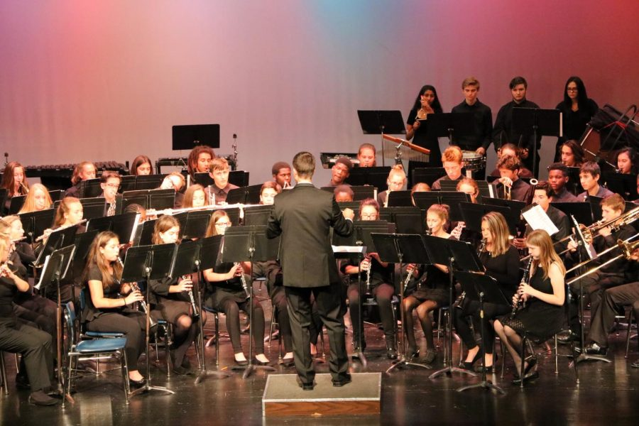 The Robinson band performs in the Veteran's Day concert.