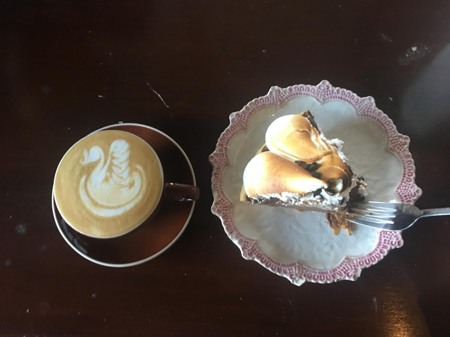 The delicious chocolate pie and the bitter cappuccino. At least the cappuccino looks cute in the photo!