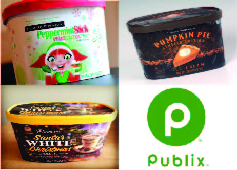 The three different flavors of Publix brand ice cream.