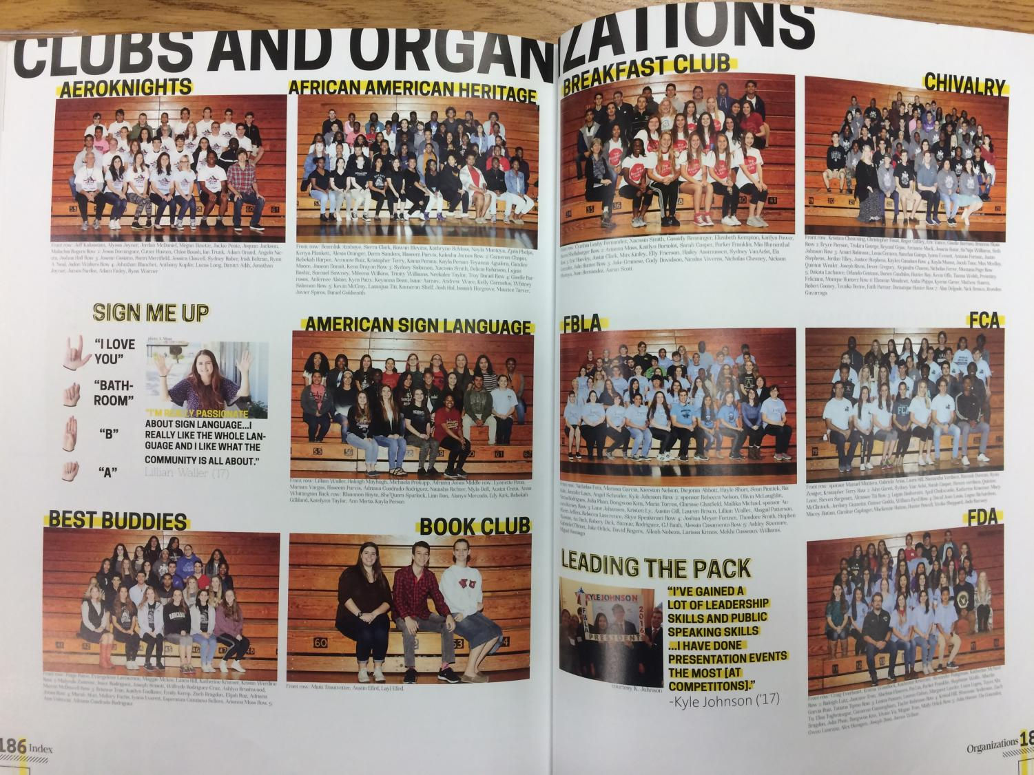 The club section is one of the sections that most students want to turn to first in the yearbook,