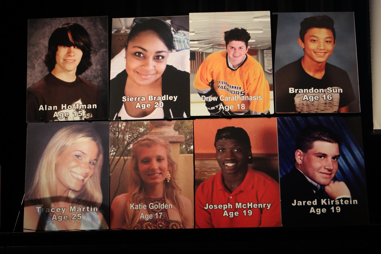 This board was the center of attention during the assembly, honoring local victims of drug addiction.