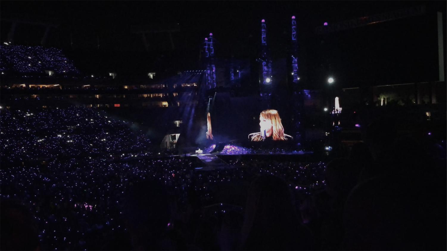 Fans lighting up the night as Swift takes the stage