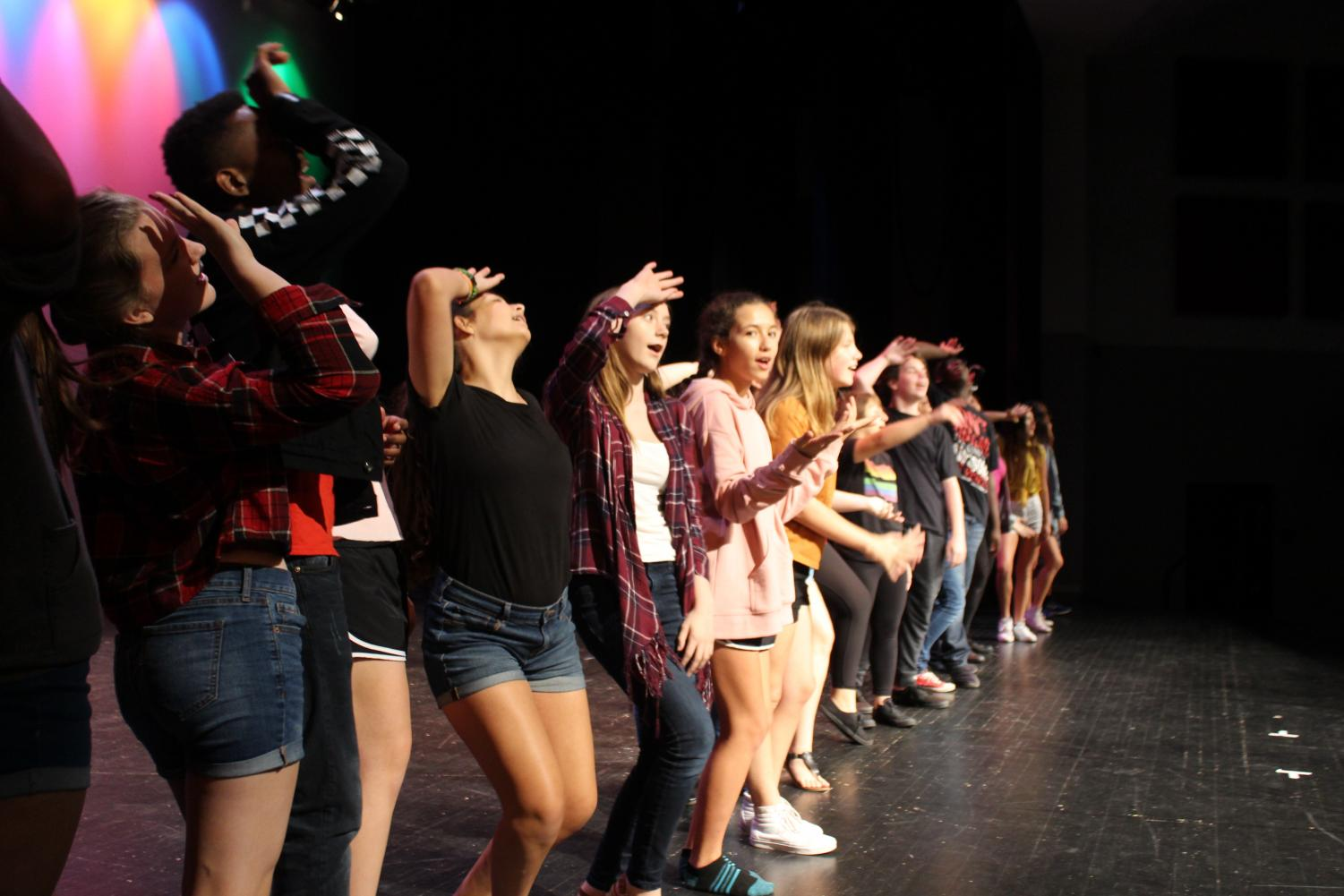 Members of thespian troupe #2660 rehearse for Broadway Knights