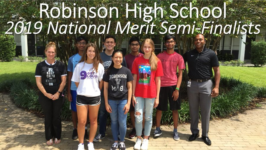 This is a picture of the National Merit Semifinalists courtesy of the Robinson High School Twitter account.