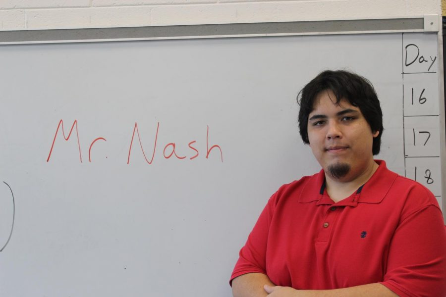 This is Mr.Nash in his class room.