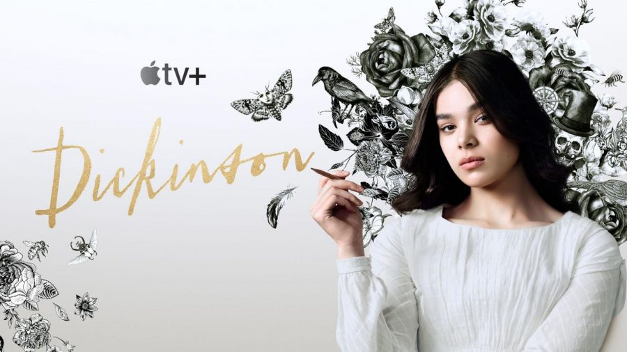 The+poster+for+Dickinson%2C+featuring+Hailee+Steinfeld+as+the+titular+character+Emily+Dickinson.+