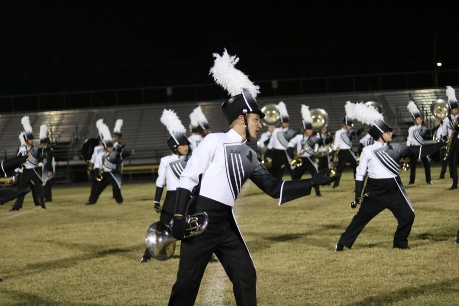 Cameron Spence ('21) performs in the halftime show during the Homecoming game vs. Newsome on Oct.  4