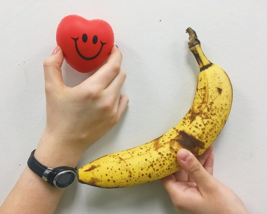 This is a photo illustration incorporating a Banana, which is commonly associated  with sex-ed tools.