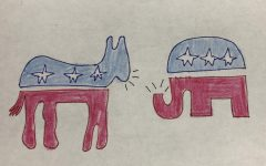 A drawing illustrating an argument between the Republican and Democratic parties (illustration by A. Woodward).
