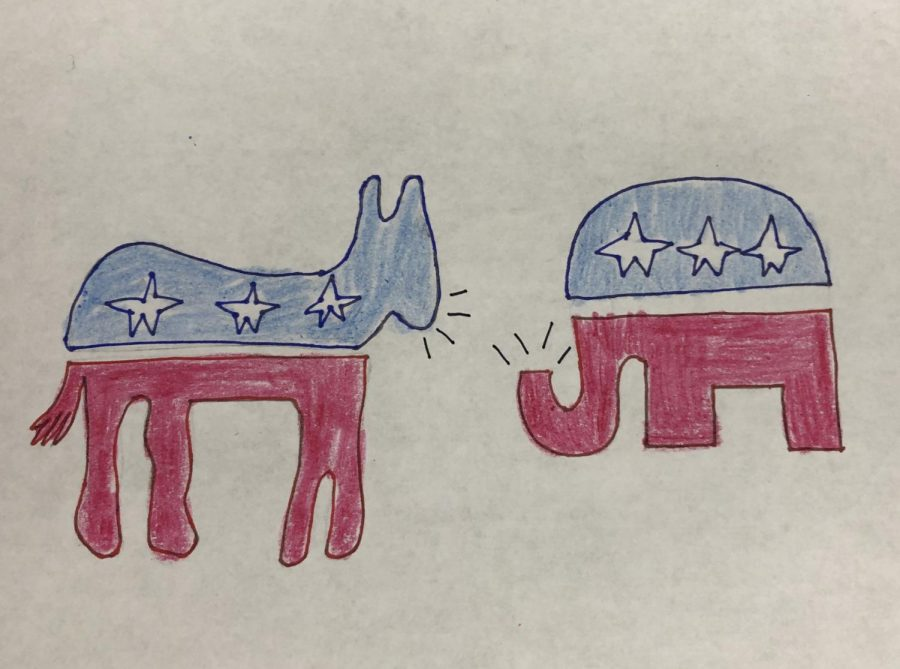 A+drawing+illustrating+an+argument+between+the+Republican+and+Democratic+parties+%28illustration+by+A.+Woodward%29.