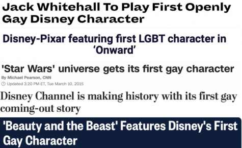 "A collage of different headlines, all about a ""first gay character"" from Disney."