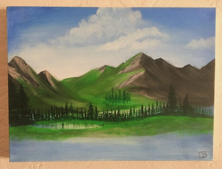 Following painting tutorials is a great way to spend time. Here is an RHSToday staffer's recreation of a Bob Ross painting.