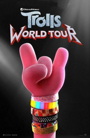 The movie poster for the new animated movie Trolls World Tour.