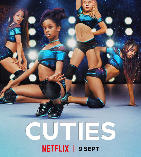 The movie poster for Cuties, showing young girls dressed in inappropriate outfits.