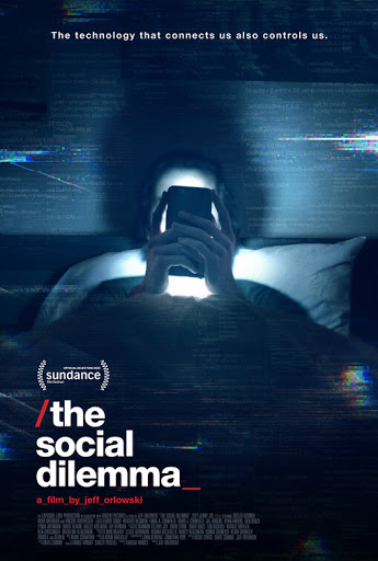 The movie poster for The Social Dilemma, a documentary that explains the ways in which social media is controlling society.