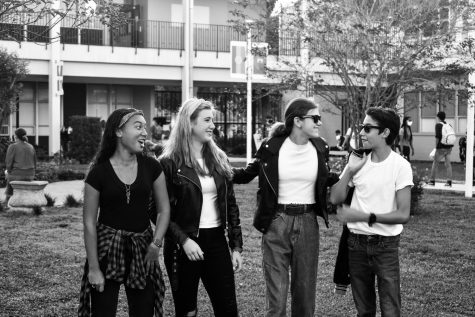 (From left) Alana Sullivan ('24), Kai Edwards ('24), Ella Garruto ('24) and Roman Montero ('24) dressed as '50s greasers.