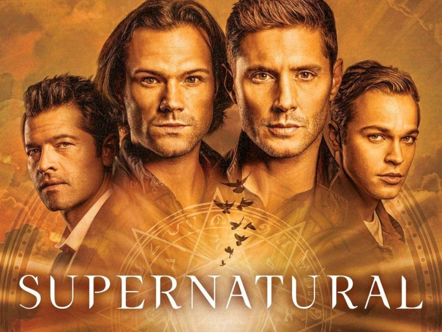 The Supernatural season 15 poster featuring characters Castiel, Sam Winchester, Dean Winchester and Jack Kline.