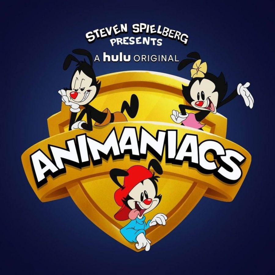 The promotional poster for the 2020 reboot of Animaniacs, featuring the Warner siblings (Yakko, top left; Dot, top right; and Wakko)