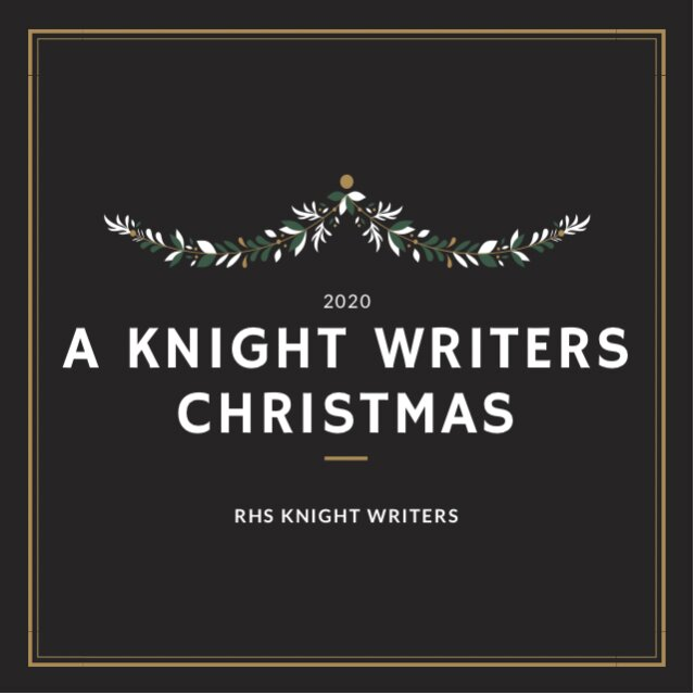 "A festive playlist cover for ""A Knight Writers Christmas."""