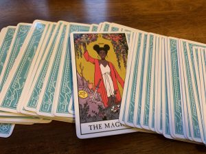 Photos of tarot cards, which are often used with spirituality.