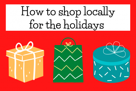 "Graphic depicting gifts and the phrase ""how to shop locally for the holidays."""