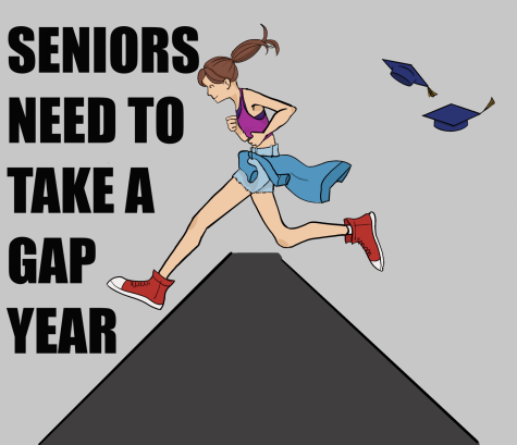 An illustration depicting seniors taking a gap year after graduation.